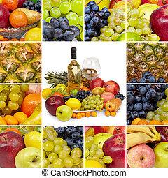 carrée, collage, -, fruits tropicaux, vin