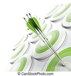 carrée, effet, compétitif, stratégique, format., cibles, avantage, concept., trois, palîr, barbouillage, blanc, image, business, atteindre, commercialisation, centre, beaucoup, flèches, vert, objectif, ou