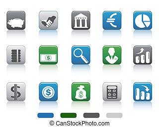 carrée, finance, icônes, simple, bouton, banque, ensemble