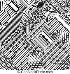 carrée, fond, -, planche, circuit, électronique