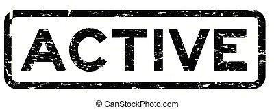 carrée, grunge, timbre, caoutchouc, arrière-plan noir, cachet, actif, blanc