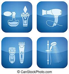 carrée, icônes, bathroo, cobalt, 2d, set: