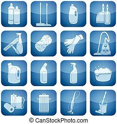 carrée, nettoyage, 2d, set:, cobalt, icônes