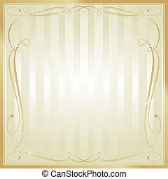 carrée, or, orné, vecteur, fond, vide, bronzage, rayé
