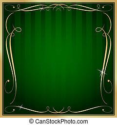 carrée, or, vide, vecteur, arrière-plan vert, orné, rayé