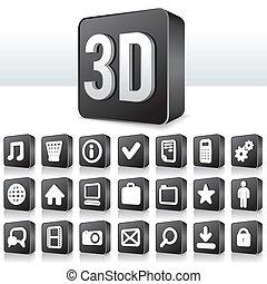 carrée, pictogramme, bouton, apps, icône, technologie, 3d