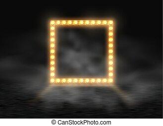 carrée, roulette., cadre, enseigne, loto, frontière, briller, ampoules, casino, arrière-plan., incandescent, fumée, noir, brouillard, fête, exposition, lampes, bannière, étape, illustration., lumière, vecteur, poker, brillant