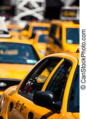 carrée, speeds, par, taxi, temps, jaune, ny, usa., new york