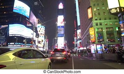 carrée, temps, motion:, nuit, lumières, dépassement, voitures, lent, gens, trafic