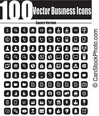 carrée, ve, icones affaires, vecteur, 100