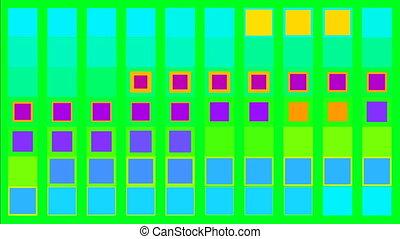 carrés, coloré, minimalisme, concept, écran, vert, scintillement