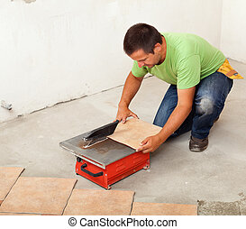 carreau, découpage, céramique, homme, plancher