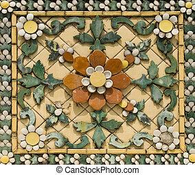 carreau, floral, céramique, vieux