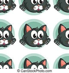carreau, modèle, dessin animé, seamless, chat