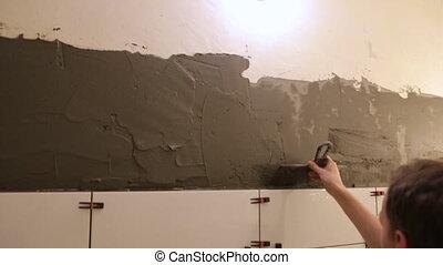 carreau, ouvrier, mettre, mur, colle