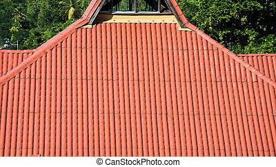carreau, tropiques, rouges, toit