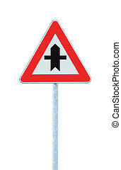 carrefour, poteau, isolé, signe, avertissement, route principale