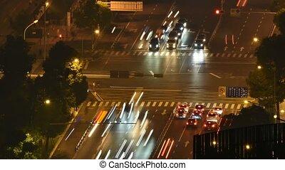 carrefour, timelapse, trafic, nuit