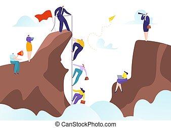 carrière, collaboration, accomplissement, équipe, illustration., éditorial, coopération, aide, vecteur, reussite, ensemble, but, direction, défi