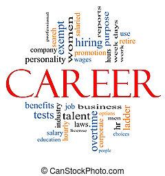 carrière, concept, mot, nuage