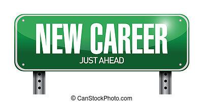 carrière, illustration, signe, conception, nouveau, route