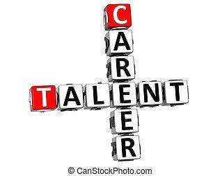 carrière, mots croisés, talent, 3d