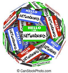 carrière, ou, balle, gestion réseau, reussite, gens, réunion, obtenir, ventes, valeur, salutation, sphère, métier, espoirs, nouveau, nametags, autocollants, bonjour, occasion, illustrer