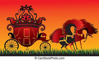 carriage., fée-conte