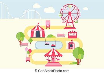 carrousels, carte, style, éléments, plat, attractions, parc, illustration, infographic, vecteur, amusement