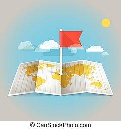 carte, éléments, flag., conception, mondiale, rouges