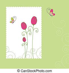carte, été, floral, salutation, printemps