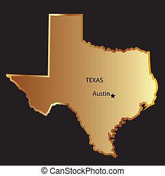 carte, état, or, texas