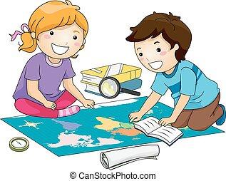 carte, étude, gosses, géographie