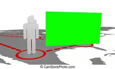carte, 3d, silhouettes, apparaître