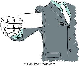 carte affaires, illustration, homme