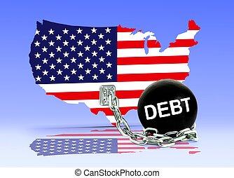 carte, américain, dette, balle