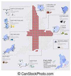 carte, angleterre, drapeau, infographic, conception, point