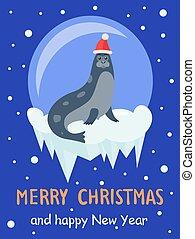 carte, animal, boule de neige, cachet, arctique, vecteur