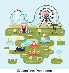 carte, attractions, cirque, parc, ou, amusement
