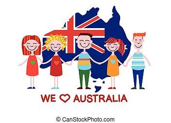carte, australie, amour, pays, national, jour, drapeau, gosses, enfants
