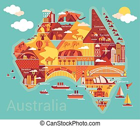 carte, australie, dessin animé
