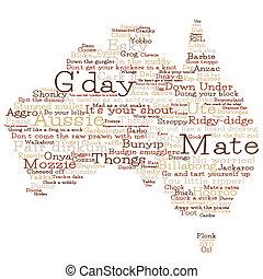 carte, australie, format., vecteur, mots, australien, fait, argot