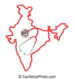 carte, autour de, monde médical, fond, inde, stéthoscope, concept
