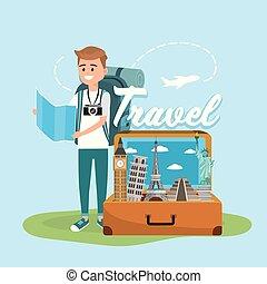 carte, autour de, voyage, global, mondiale, homme