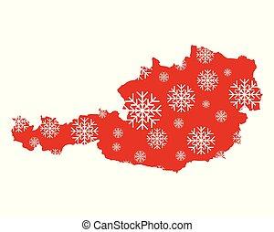 carte, autriche, flocons neige