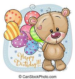 carte, ballons, salutation, ours, teddy