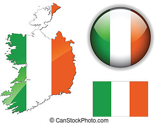 carte, bouton, drapeau, lustré, irlande