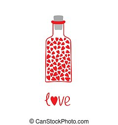 carte, cœurs, amour, intérieur., bouteille