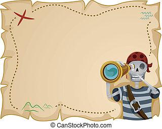 carte, cadre, trésor, pirate