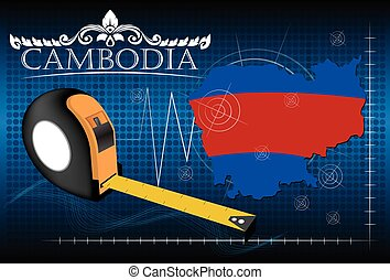 carte, cambodge, règle, vector.